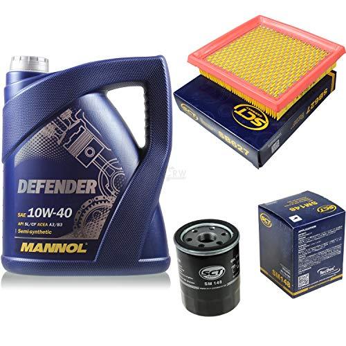 Filter Set Inspektionspaket 5 Liter MANNOL Motoröl Defender 10W-40 API SL/CF SCT Germany Luftfilter Ölfilter