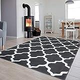 Tapiso Luxury Teppich Kurzflor Modern Marokkanisch Geometrisch Kleeblatt Gitter Muster Grau Weiss Wohnzimmer Jugendzimmer ÖKOTEX 80 x 150 cm