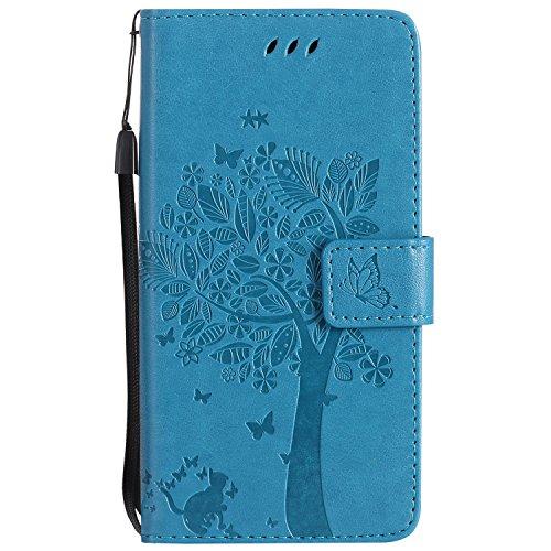 LODROC [Huawei P10 Lite] Hülle, TPU Lederhülle Magnetische Schutzhülle [Kartenfach] [Standfunktion], Stoßfeste Tasche Kompatibel für Huawei P10Lite - LOKT0101056 Blau