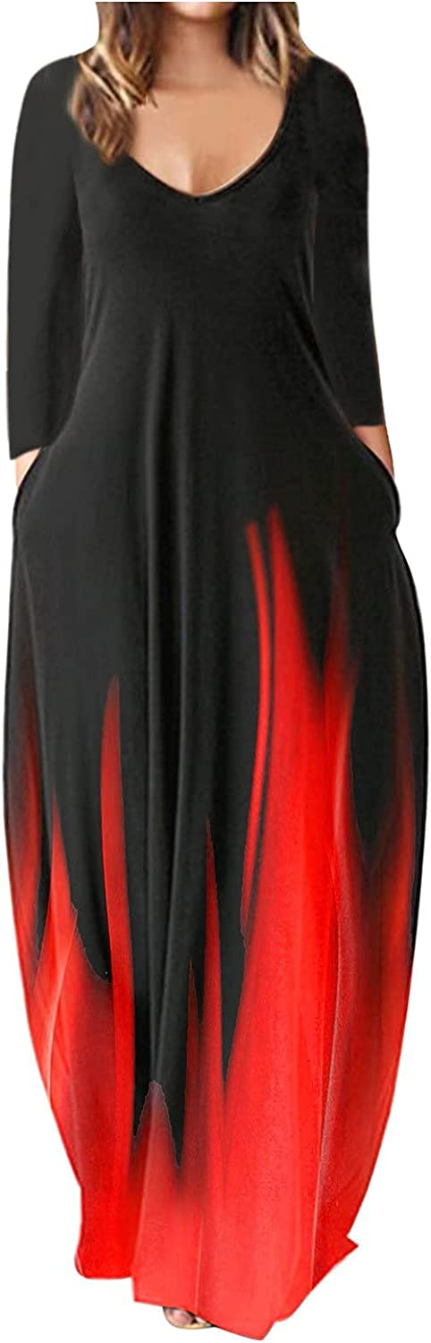 Oiumov Boho Dress for Women Casual Summer Long Sleeve Gradient Sundress Long Maxi Cover Up Cocktail Dresses with Pockets
