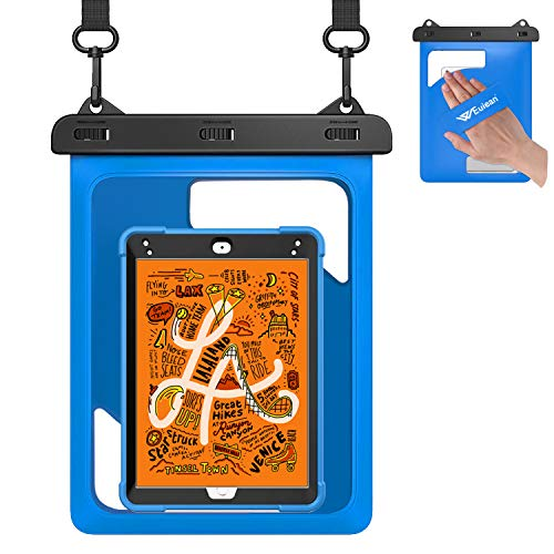 Weuiean Waterproof Case for iPad Mini 5/4/3/2/1 7.9 inch/Galaxy Tab A 8.0/7.0 inch with Lanyard Hand Strap for iPad Up to 7.9 inch/Samsung Tab Up to 8.0 Inch/Fire HD 8/7 Tablet Kids Dry Bag - Blue