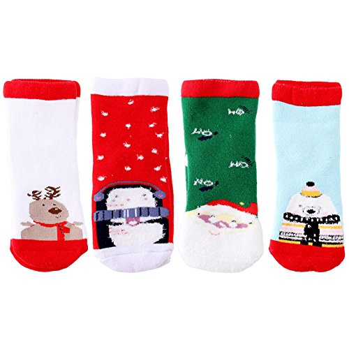 Product Image of the YEAPOOK Baby Toddler Kids Christmas Socks Boys Girls Cute Fuzzy Children...