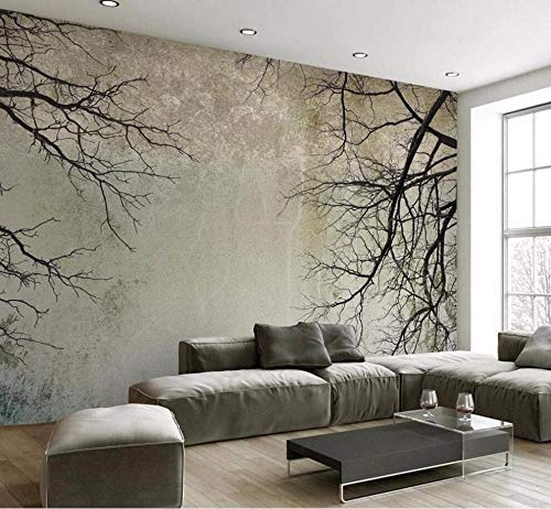 3D-vliesbehang personaliseerbaar schilderij wallpaper retro simpel Nordic stijl Tree Branch Sky Tv background muur Living Room Bedroom Mural 3D wallpaper 250 x 175 cm.