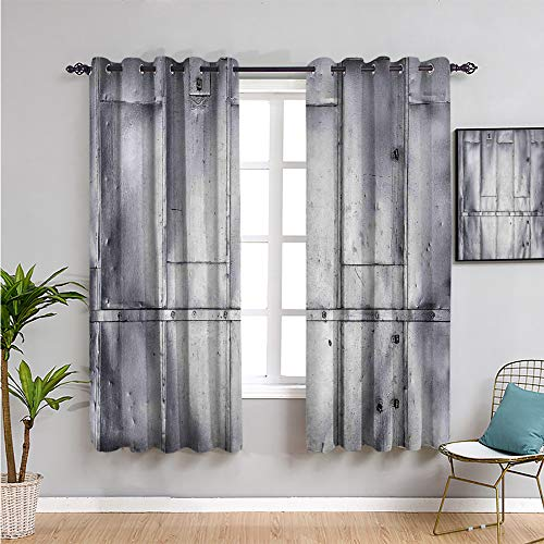 Industrial Soundproof Curtains for Bedroom, Curtains 84 inch Length Steel Panels Industrial Wall Theme Aluminum Background Futuristic Engineering Print Reduce Light Silver W52 x L84 Inch