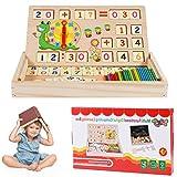 Funmo Mathe Montessori Spielzeug, Montessori Mathe Spielzeug aus Holz Lernbox Zahlenlernspiel mit Zeichnung Holzbrett Lernspielzeug für Kinder 4 5 6Jahre Alt