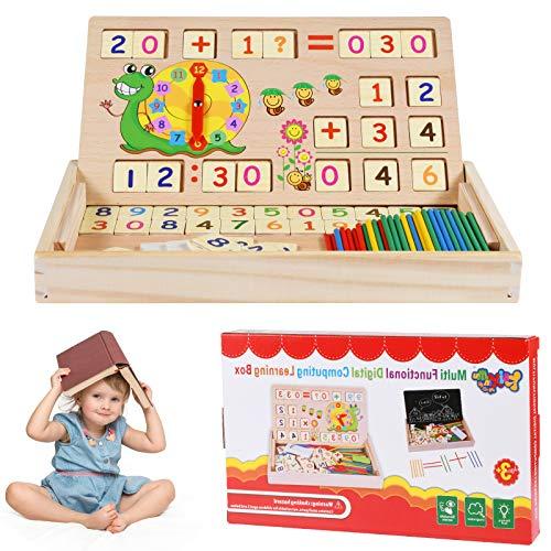 Juguetes de Madera Niños, Tablero Montessori Reloj Pintura Números Apilamiento Clasificación Matemática Aprendizaje de Juegos, Juguetes Educativos 4 5 6años Niños