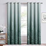RYB HOME Curtains 84 inches Long - Heavy Duty Room Darkening Curtains Ombre Grommet Hanging Digital Printing Anti-Fading Window Decor Thermal Insulated, White & Green, 52 x 84, 1 Pair