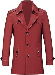 Tosonse Trench Coat Men's Casual Trench Coat Fashion Black Coat Men Business Long Slim Overcoat Jacket Outwear