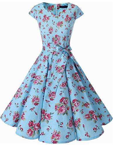 Dresstells Damen Vintage 50er Cap Sleeves Rockabilly Swing Kleider Retro Hepburn Stil Cocktailkleid Small Blue Flower M