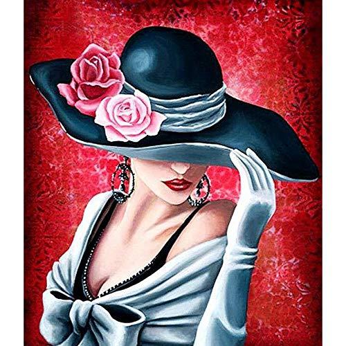 Diamant Schilderij Vrouw Hoed Strass Borduurwerk Grote Afbeeldingen Kruissteek Voor Thuis Muurdecoratie Kits Volledige Boor Verf Door Aantal Diy 5D Kunst Ambacht