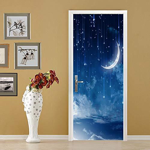 ANHHWW Türtapete Selbstklebend Türposter 3D Blauer Sternenmond Bewirken Fototapete Türfolie Poster Tapete Abnehmbar Wandtapete Für Wohnzimmer Küche Schlafzimmer 95X215Cm