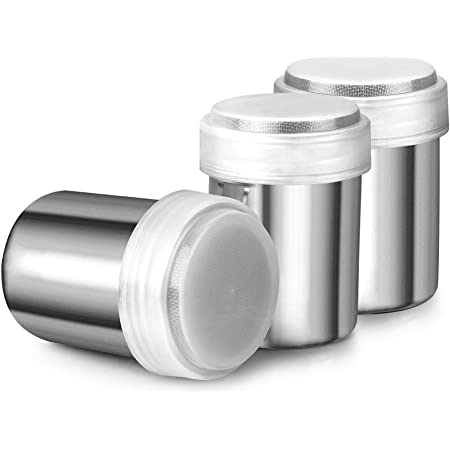 Accmor 3pcs Powder Sugar Shaker Duster, Stainless Steel Powder Sugar Shaker with Lid, Sifter For Cinnamon Sugar Pepper Powder Cocoa Flour