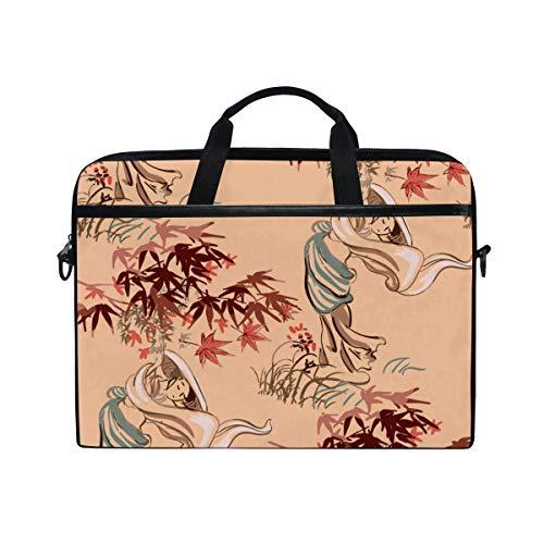 LOSNINA 15-15.6 Inch Bolsa de Ordenador,Mujer Chica Kimono Vector Japonés Chino,Nuevo Patrón de impresión portátil Hombro Bolsa maletín portátil de Ordenador portátil Caso