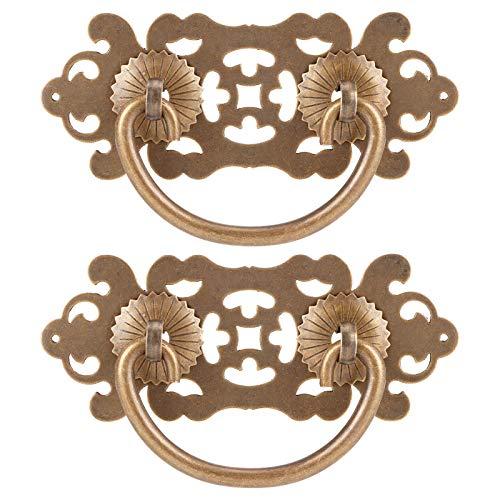 Manija hueca de cobre 2 juegos Tiradores huecos antiguos Manija de cobre Estantería Armario Cajón Manija Accesorios para muebles