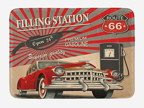 Alfombra de baño para coches, estilo de imagen, gasolinera, elemento comercial ruta 66, ilustración, 40 x 60 cm, color beige