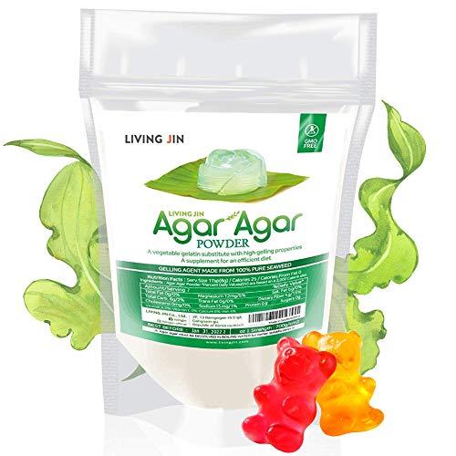 LIVING JIN Agar Agar Powder, 4oz, Vegan Cheese Powder, Vegan Eggs, Crystal Boba, Vegetarian Gelling Agent, Petri Dishes, Kosher, Halal, Non GMO, Sugar Free, 700 Strength, Unflavored Thickener