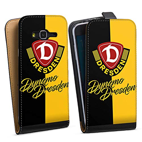Tasche kompatibel mit Samsung Galaxy J3 Duos 2016 Flip Case Hülle Offizielles Lizenzprodukt SG Dynamo Dresden SGD