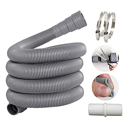 Alargador de manguera de desagüe de 3 m, con conector de manguera de desagüe y 2 abrazaderas, diámetro de 20 mm, para lavadora y lavavajillas