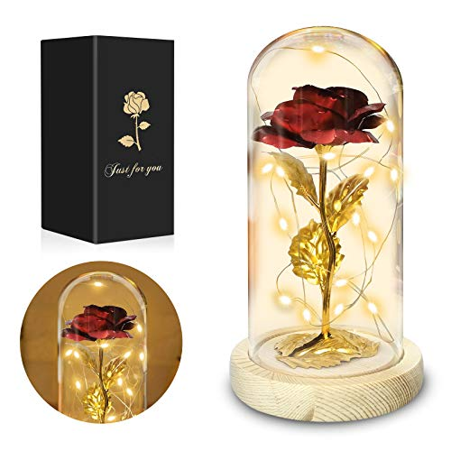 Beauty and The Beast Rose, Colorful Gold Foil Rose for Women, Christmas, Wedding, Valentine's Day, Thanksgiving, Mother's Day and Birthday, LED Light String on The Red Artificial Flower Rose Gift