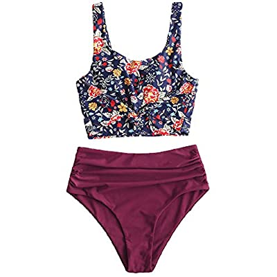 ZAFUL Women's Knotted Front Tankini Set High Waisted Bikini Scoop Neck Swimsuit Two Pieces Bathing Suit (Plant Print-Plum Pie, S)