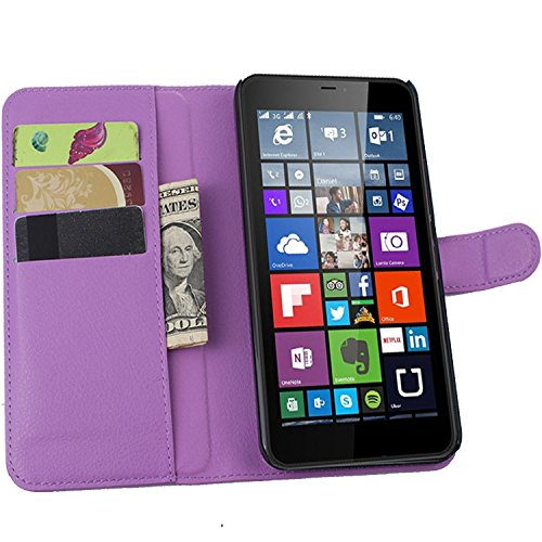 Ycloud Tasche für Nokia Microsoft Lumia 640 XL Dual-SIM Hülle, PU Ledertasche Flip Cover Wallet Case Handyhülle mit Stand Function Credit Card Slots Bookstyle Purse Design lila