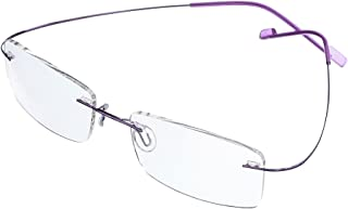 Jcerki Frameless Myopia Glasses Men and Women Nearsighted Glasses -2.50 Strength Fashion Distance Spectacles **These are not Reading Glasses**