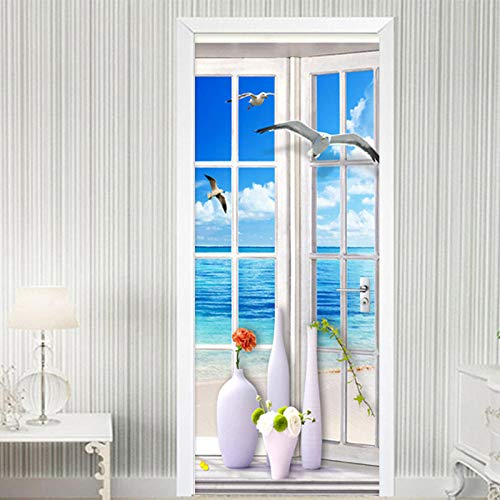 DIOPN deur stickers muur schilderij raam landschap behang woonkamer badkamer deur plakken huisdecoratie muur Sticker 3D