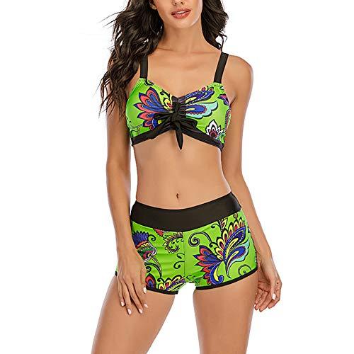 YANFANG Bikini para Mujer,de Pierna de Corte Alto con Cordones y Estampado Sexy de Mujer, Traje de baño de Dos Piezas Ropa de baño bañador Sujetador Bragas Sexy Elegante Atractivo