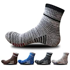 Material - 75% Cotton, 22% Polyester, 3% Spandex. Feature - Bottom thickened towel bottom socks, high density, high elasticity, can ease the impact, reduce friction, effectively protect your feet from the blisters, while providing shock absorption an...