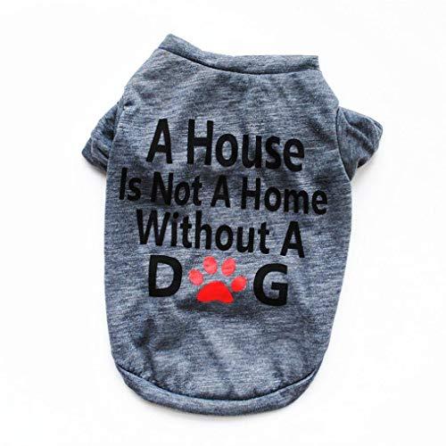 N-brand PULABO Hundebekleidung für kleine Hunde, Sommer Haustier Baumwolle Brief Shirt Kleiner Hund Katze Weste T Shirt L = Büste: 50cm / 19,68 ', grau langlebig und praktisch Stilvoll