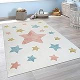 Alfombra Infantil Pelo Corto Colorida Pastel Diseño Estrellas Adorable En Crema, tamaño:80x150 cm