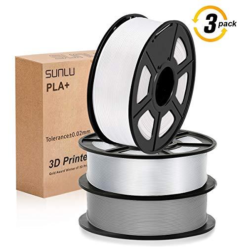 SUNLU 3D filamento 1.75, PLA + Filamento 1.75mm, 3KG PLA + Filamento 0.02mm para Impresoras 3D 3D Pens, Blanco + Transparente + Gris