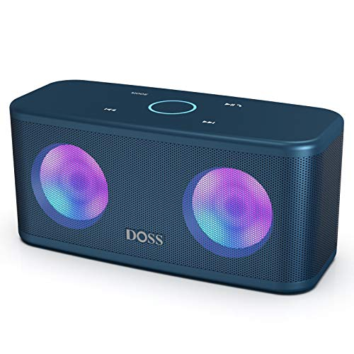 DOSS SoundBox Plus Kabellos Bluetooth Lautsprecher, 16 Watt Bluetooth Musikbox mit Dual-Treiber, Touch Steuerung, Farbige Party Licht, Mikrofon, 20 St. Akkulaufzeit, TF Karte Slot, Dunkelblau