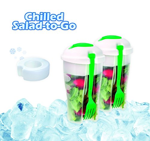 2 Pack Fresh Salad To Go Container Set With Ice Pack, Fork with Dressing Container for Lunchbox Salads for Work, Picnics To Eat Fresh Crispy or Healthier the Best Way To Pack Salad for Lunch Green