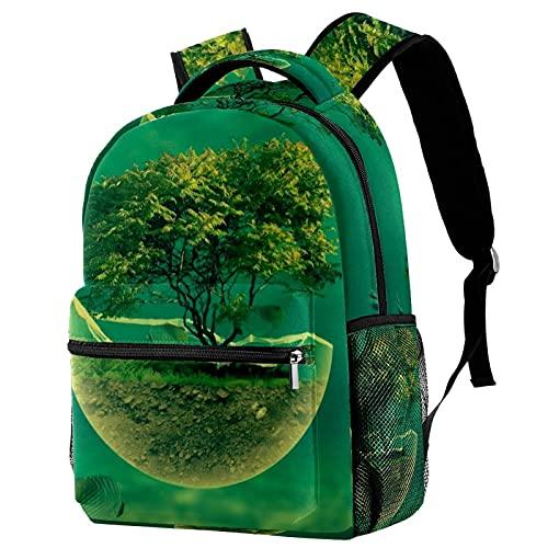 Xingruyun Zaino da scuola Zaino per laptop resistente Zaino da scuola impermeabile con stampa di moda Daypack Unisex alberi pesce di mare 29.4x20x40cm