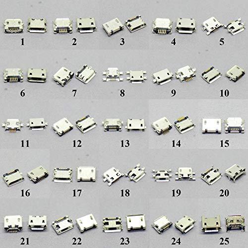 IGOSAIT 25 modelos Micro USB Jack Conector Puerto de socket de carga común para Lenovo para para for Huawei ZTE para for Xiaomi para for Samsung Moto Etc Tablet GPS (Color : 25models each 3pcs)