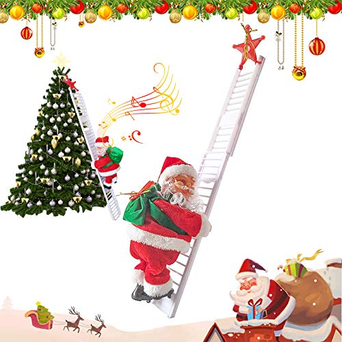 Santa Climbing Ladder Electric Santa Claus Climbing Rope Ladder Decoration Christmas Super Climbing Santa Plush Doll Toy Hanging Ornament Tree Indoor Outdoor Christmas Holiday Home Decor