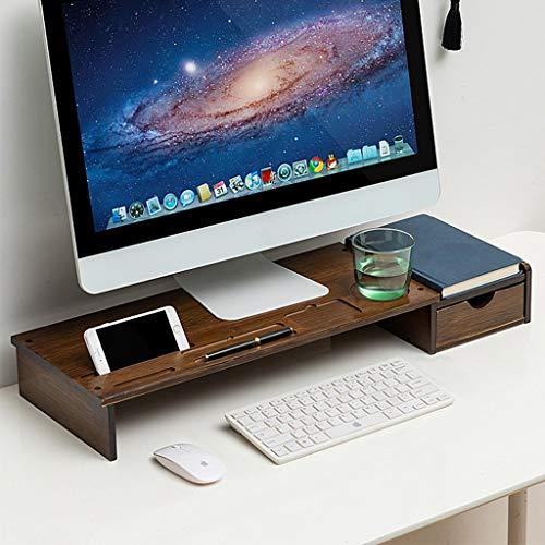Monitor de bambú Soporte Riser con cajón, Monitor Universal de escritorio Soporte Marrón, Monitor de computadora Riser con estantería de almacenamiento de ranura de almacenamiento No hay necesidad de