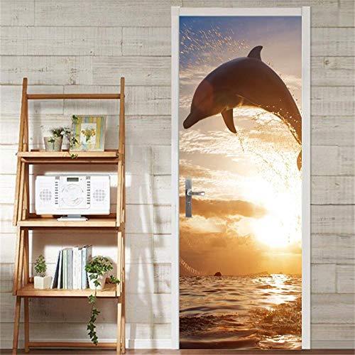 CFLEGEND 3D Türbilder Türplakat Delphin im Sonnenuntergang Selbstklebend DIY Poster Fotos Zuhause Dekoration Kinder Schlafzimmer Tür Innentür Wasserdicht Wandaufkleber Bad Das Büro von Wandgem80*200CM