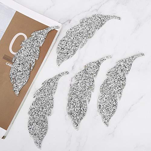 5 pezzi brillanti adesivi hot melt resina plastica strass adesivo diamante cucito patch pantaloni borse per accessori di abbigliamento cinture bagagli(Silver)
