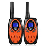 FLOUREON Walkie Talkies for Kids, 2-Way Radio for Children with Long Distance Range 22 Channel Interphone for Home Communication/Festival- Orange