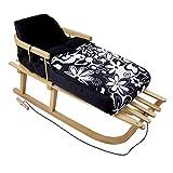 rawstyle (del paquete combinado) trineo de madera con respaldo incl. Cuerda + Saco de pie de invierno 90cm forro polar–Negro + Grandes de flores blancas