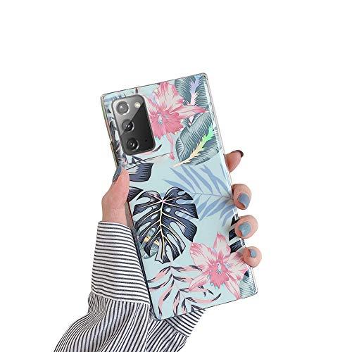 Herbests Kompatibel mit Samsung Galaxy Note 20 Hülle Glänzend Bunt Blumen Weich Silikon Handy Schutzhülle Ultra Dünn Handytasche Case TPU Silikon Hülle Case Tasche Rückseite Glitzer Hülle,Rosa