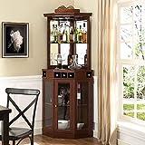 Red Barrel Studio Corner Arms Bar with Wine Storage (Mahogany)