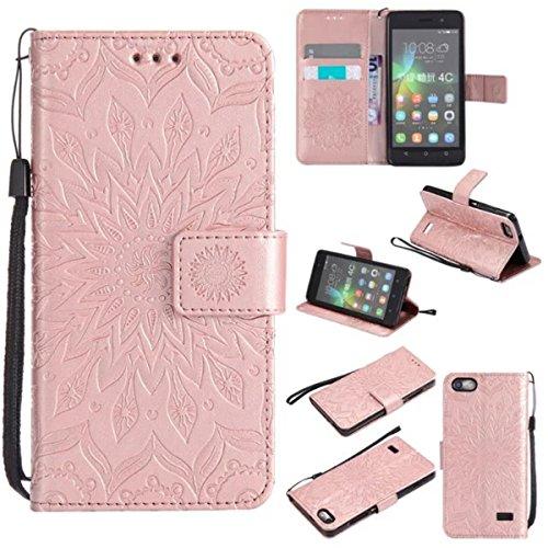Honor 4C Hülle, Huawei G Play mini Hülle, Gift_Source [Rose Gold] PU Leder Brieftasche Schutzhülle Lederhülle Tasche Hülle mit Standfunktion Flip case Handyhülle für Huawei Honor 4C/Huawei G Play mini