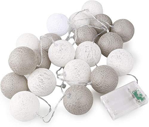 Cuento de Hadas de Bola de algodón Cuerdas de batería AA de 20 LED AA para decoración de jardín de Boda (Serial Gris)
