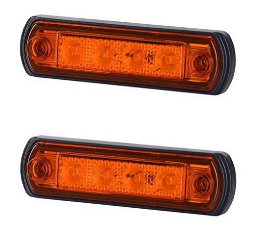 2 x 4 SMD LED Orange Begrenzungsleuchte Seitenleuchte 12V 24V mit E-Prüfzeichen Positionsleuchte Auto LKW PKW KFZ Lampe Leuchte Licht Gelb Universal