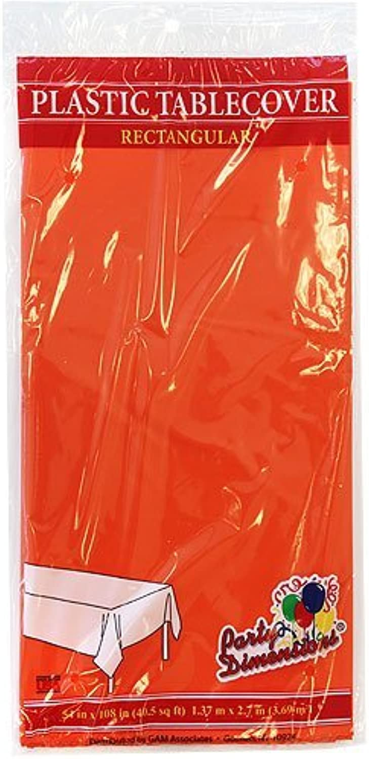 Plastic Party Tablecloths - Disposable, Rectangular Tablecovers - 8 Pack - orange - By Party Dimensions