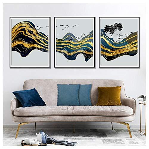 ONEAM Abstract Gold Mountain Wall Art Canvas Schilderen Aquarel Vogelboek Nordic Stijl Huisdecoratie Posters En Afdrukken-40X50Cmx3 Stks Frameless