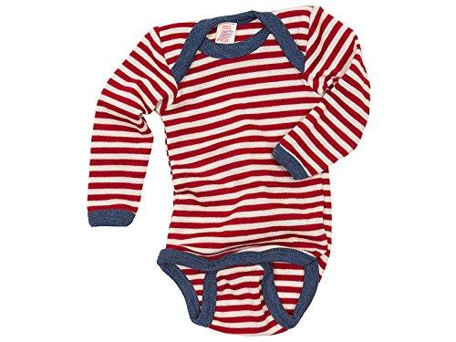 Baby Body langarm, Wolle maschinenw., Engel Natur, Rot Melange/Natur, Gr. 50/56